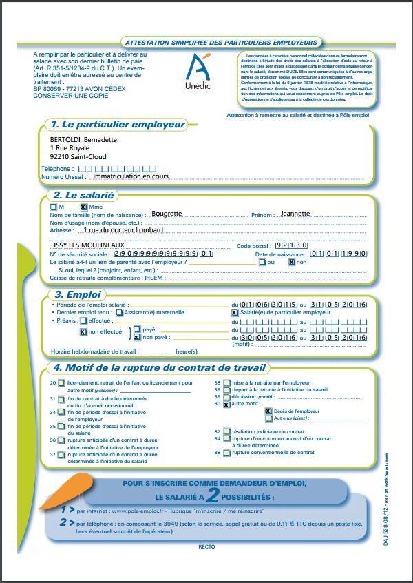 attestation assedic vierge pole emploi